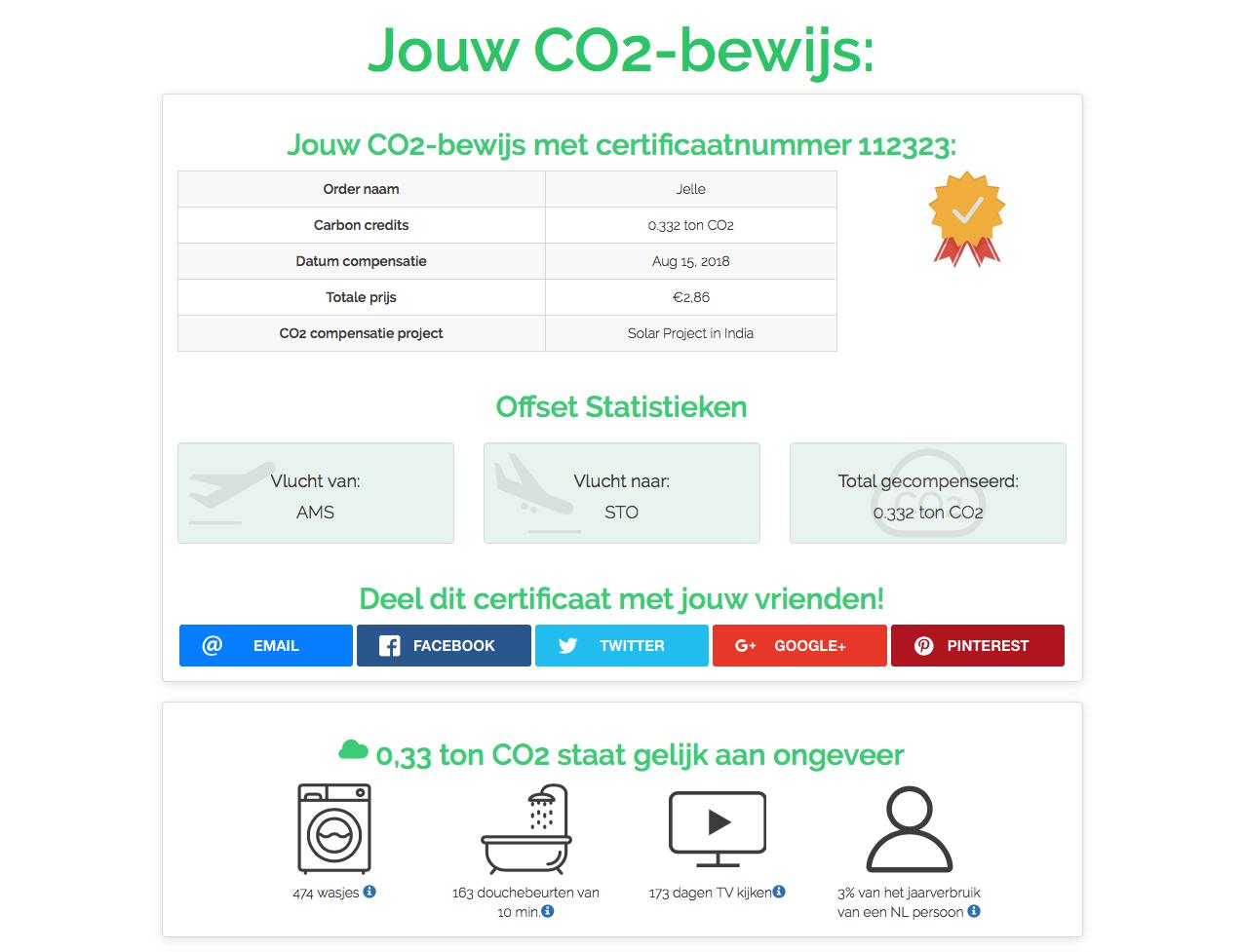 Een voorbeeld van een CO2-certificaat van FlyGRN